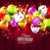 Tarjeta de cumpleaños con las cintas que se encrespan coloridas Foto de archivo libre de regalías
