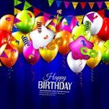 Tarjeta de cumpleaños con las cintas que se encrespan coloridas Imagen de archivo