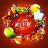 Tarjeta de cumpleaños con las cintas que se encrespan coloridas Fotografía de archivo libre de regalías
