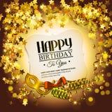 Tarjeta de cumpleaños con las estrellas de oro, el encresparse colorido Imagen de archivo libre de regalías