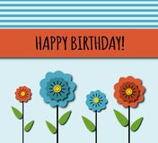 Tarjeta de cumpleaños con las flores Imágenes de archivo libres de regalías