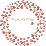 Tarjeta de cumpleaños con las manzanas Fotos de archivo