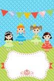 Tarjeta de cumpleaños con las niñas Imágenes de archivo libres de regalías