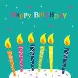 Tarjeta de cumpleaños con las velas Foto de archivo libre de regalías