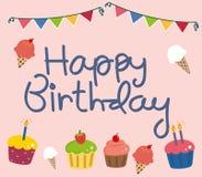 Tarjeta de cumpleaños con los cupackes Fotos de archivo libres de regalías