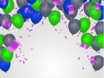 Tarjeta de cumpleaños con los globos azules y verdes Texto del feliz cumpleaños stock de ilustración