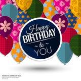 Tarjeta de cumpleaños con los globos de papel y cumpleaños Imagen de archivo