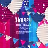 Tarjeta de cumpleaños con los globos en el estilo del plano Imagenes de archivo