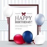 Tarjeta de cumpleaños con los globos y el marco Foto de archivo libre de regalías