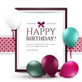 Tarjeta de cumpleaños con los globos y el marco Foto de archivo