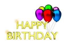 Tarjeta de cumpleaños con los globos y el texto del cumpleaños Foto de archivo