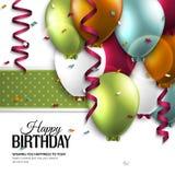 Tarjeta de cumpleaños con los globos y el texto del cumpleaños Imagen de archivo libre de regalías