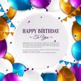 Tarjeta de cumpleaños con los globos y el texto del cumpleaños Imagenes de archivo