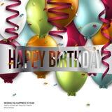 Tarjeta de cumpleaños con los globos y el texto del cumpleaños Imagen de archivo