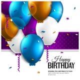 Tarjeta de cumpleaños con los globos y el texto del cumpleaños Fotografía de archivo libre de regalías