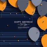 Tarjeta de cumpleaños con los globos y el texto del cumpleaños Fotos de archivo libres de regalías