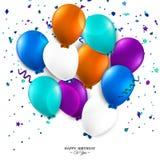 Tarjeta de cumpleaños con los globos y el texto del cumpleaños Fotografía de archivo