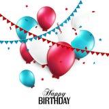 Tarjeta de cumpleaños con los globos y el texto del cumpleaños Foto de archivo libre de regalías