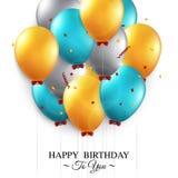 Tarjeta de cumpleaños con los globos y el texto del cumpleaños Fotos de archivo