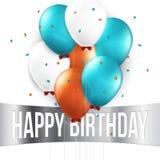 Tarjeta de cumpleaños con los globos y el texto del cumpleaños Imágenes de archivo libres de regalías
