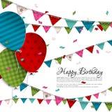 Tarjeta de cumpleaños con los globos y las banderas del empavesado Foto de archivo libre de regalías