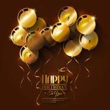 Tarjeta de cumpleaños con los globos y las cintas Fotos de archivo libres de regalías