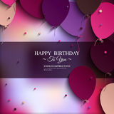 Tarjeta de cumpleaños con los globos, y texto del cumpleaños Foto de archivo
