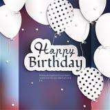 Tarjeta de cumpleaños con los globos, y texto del cumpleaños Imágenes de archivo libres de regalías