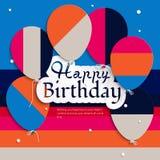 Tarjeta de cumpleaños con los globos, y texto del cumpleaños Imagen de archivo libre de regalías