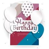 Tarjeta de cumpleaños con los globos, y texto del cumpleaños Foto de archivo libre de regalías