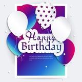 Tarjeta de cumpleaños con los globos, y texto del cumpleaños Fotos de archivo libres de regalías