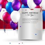 Tarjeta de cumpleaños con los globos, y texto del cumpleaños Fotografía de archivo