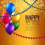 Tarjeta de cumpleaños con los globos, y texto del cumpleaños Fotos de archivo