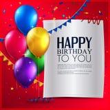Tarjeta de cumpleaños con los globos, y texto del cumpleaños encendido Fotografía de archivo libre de regalías