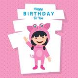Tarjeta de cumpleaños con los niños en el traje animal Fotografía de archivo libre de regalías