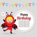Tarjeta de cumpleaños con los niños en el traje animal Fotos de archivo libres de regalías