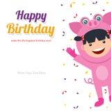 Tarjeta de cumpleaños con los niños en el traje animal Imagen de archivo