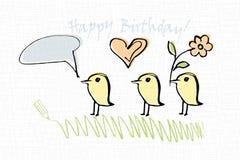 Tarjeta de cumpleaños con los pájaros Imágenes de archivo libres de regalías