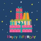Tarjeta de cumpleaños con los regalos coloridos Imagen de archivo libre de regalías