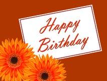 Tarjeta de cumpleaños con una flor del gerbera Imagenes de archivo