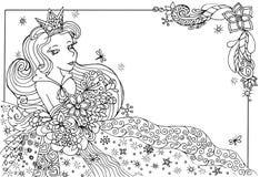 Tarjeta de cumpleaños con una princesa Imagen de archivo libre de regalías