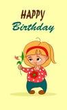 Tarjeta de cumpleaños de la historieta del vector Fotografía de archivo libre de regalías