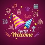 Tarjeta de cumpleaños de la invitación del partido Vector Imagen de archivo libre de regalías