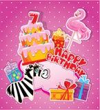 Tarjeta de cumpleaños del bebé con el flamenco y la cebra, torta grande Foto de archivo