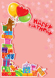 Tarjeta de cumpleaños del bebé con el oso de peluche y los rectángulos de regalo Foto de archivo libre de regalías