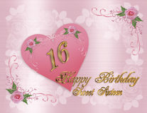 Tarjeta de cumpleaños del dulce 16 Fotografía de archivo libre de regalías