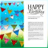 Tarjeta de cumpleaños del vector con confeti y el empavesado Fotografía de archivo libre de regalías