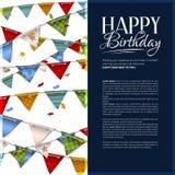 Tarjeta de cumpleaños del vector con confeti y el empavesado Imagen de archivo libre de regalías