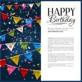 Tarjeta de cumpleaños del vector con confeti y el empavesado Fotos de archivo