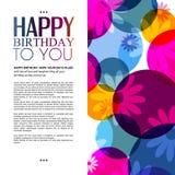 Tarjeta de cumpleaños del vector con las flores en colorido Foto de archivo libre de regalías